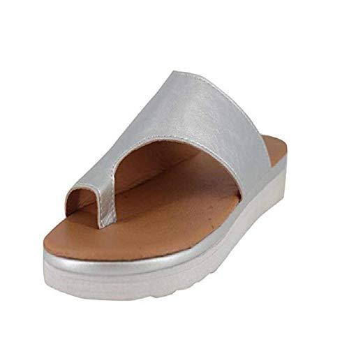 Vertvie Mujer Chanclas Plataforma Tacón De Cuña Verano Fiesta Chanclas Sandalias Zapatos Chanclas Sandalias De Playa Cuero de PU para Interiores al Aire Libre Zapatillas