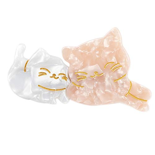 niumanery Japanese Cute Mom Kids Meow Cat Duckbill Hair Clip Sweet Girls Fancy Acetic Acid Contrast Color Hairpins Side Bangs Barrettes Pink