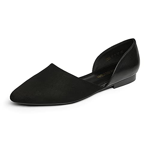 DREAM PAIRS Women's Flats, Pointed Toe Slip on Elegant Flats Shoes for Women - Comfortable Ballet Flats for Work Walking Shopping DFA216, Size 8.5, Black/Suede