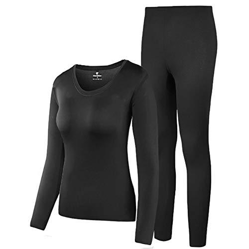 HEROBIKER Thermal Underwear Women Ultra-Soft Set Base Layer Top & Bottom Long Johns with Fleece Lined(M, Black)