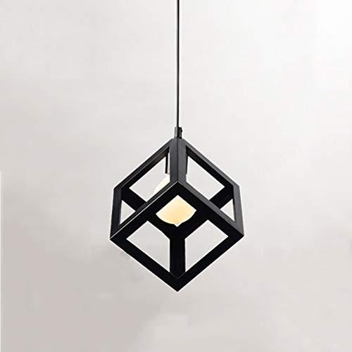 Luz de techo de cubo industrial, lampara techode metal, lamparas de techogeométricas vintage, luz colgante cuadrada de diseño de cubo de color negro, 220V, bombilla E27 no incluida