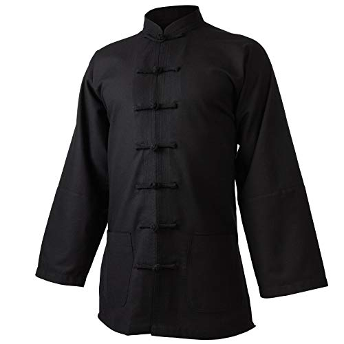 wu designs Leinen (Mittel) Kung Fu & Tai Chi Shirt Stehkragen Langarm - Taiji Anzug Dunkelblau 175