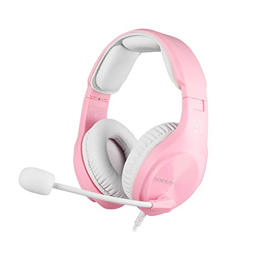 [Angel Edition] SADES A2 Gaming-Headset mit Stereo-Sound für PS4, mit Noise-Cancelling-Mikrofon, kompatibel mit PS5, Xbox One/Xbox One X, PC/Laptop (Rosa)