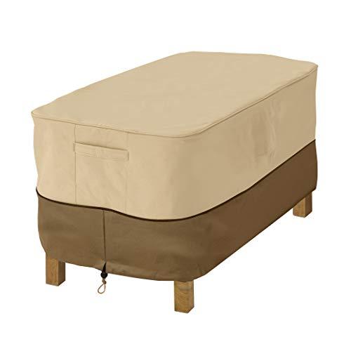 Classic Accessories Housse de Table dappoint/Repose-Pieds de Jardin rectangulaire, Petite (S), Veranda d'appoint, Pebble/Bark/Earth, 81,28x55,88x43,18 cm