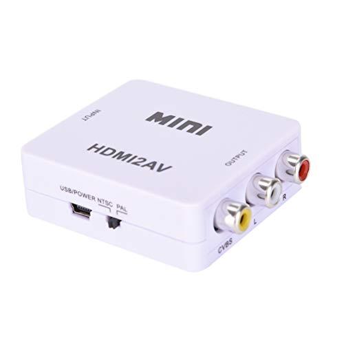 IYSHOUGONG 1080P HDMI2AV Mini HDMI a AV -Compuesto CVBS RCA Audio Vedio Adaptador Convertidor (Blanco)