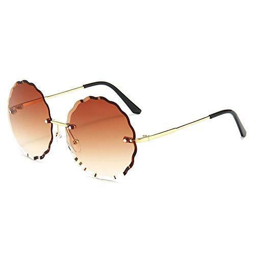 hqpaper Gafas de sol poligonales con borde sin montura, gafas de sol para mujer, gafas de tendencia de metal, gradualmente marrón