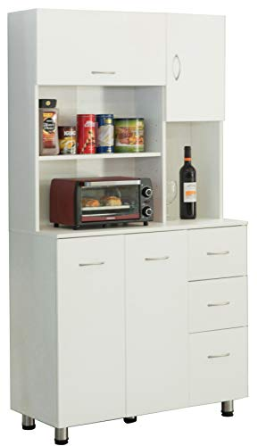 Basicwise Kitchen Pantry Storage Cabinetwith Doors and Shelves, White