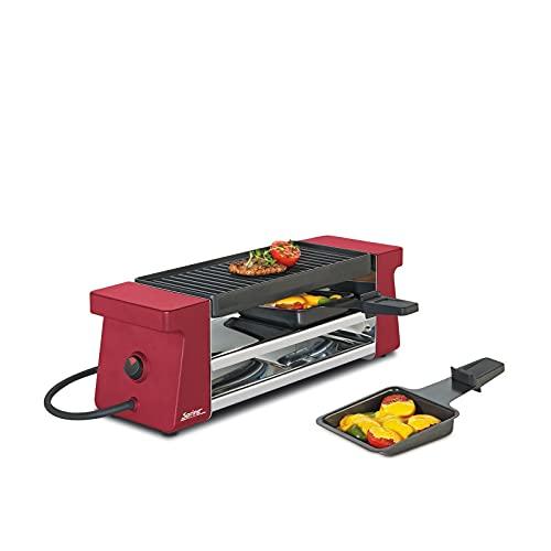 Spring Raclette 2 Compact Rot mit Alugrillplatte, Edelstahl, 12.4 x 21.2 x 36.8 cm