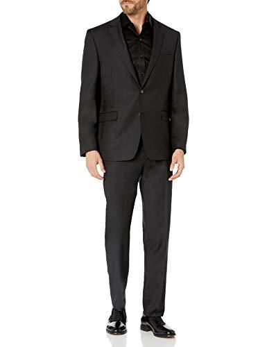DKNY Men's Modern Fit Suit, Dark Black, 38 Short / 31W