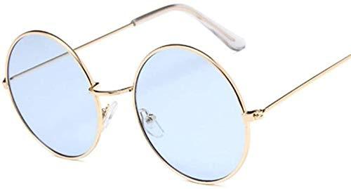 ZYIZEE Gafas de Sol Gafas de Sol pequeñas Redondas para Mujer Gafas de Sol de Metal Vintage para Mujer Gafas Circulares Retro Azul Dorado