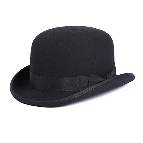 WANGJUN 100% Wolle Herren Bailey Ofhollywood Fedora Hut for Gentleman Crushable Hantom Dad Bowler Hut Billycock Hüte (Color : Black, Size : 61CM)