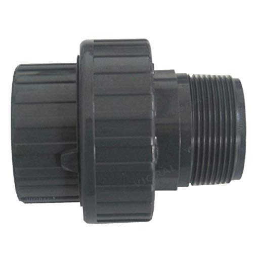 """Plimat PVC Klebefitting 50 mm T-Stück Bogen Rohr Winkel Muffe Kappe Verschraubung (PVC Verschraubung Spritzguss 50mm x 1\"""" 1/2)"""