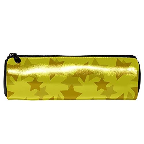 EZIOLY Estuche para lápices con diseño de estrellas, color dorado y amarillo