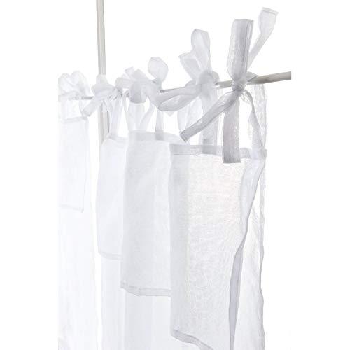 RideauDiscount Paire de vitrages 60 x 90 cm à Nouettes Effet Naturel Tête Doublée Uni Blanc