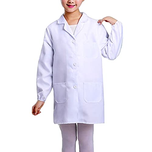 Kids Unisex Child Lab Coat Scientists Role Play Costume Halloween Pretent Dress-up Set (White, X-Large)