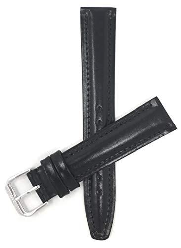 Bandini 20mm Extra lang (XL) Uhrenband, Italienisches Lederarmband Ersatzband - Schwarz - Halbfinale - Glänzend - Gepolstert