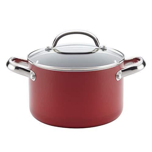 Farberware Buena Cocina Aluminum Nonstick Covered Soup Pot, 4-Quart, Red