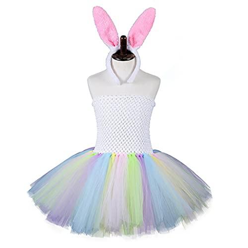 PHILSP Vestido sin Tirantes Colorido del tutú sin Tirantes Colorido del Conejo de Pascua de Las Muchachas de los niños, con el Vestido del bebé de la Diadema de Las Orejas del Conejito S