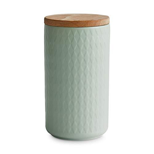 Keramik Vorratsdosen mit Holzdeckel Mint, Kautschukholz-Deckel, Aufbewahrungsdosen, Frischhaltedosen - 1x Hellgrün: 10x18cm