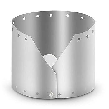 Lixada Ultralight Ultra Titane extérieur Camping Poêle Vent Bouclier Plaque Écran Coupe-Vent (19 cm)