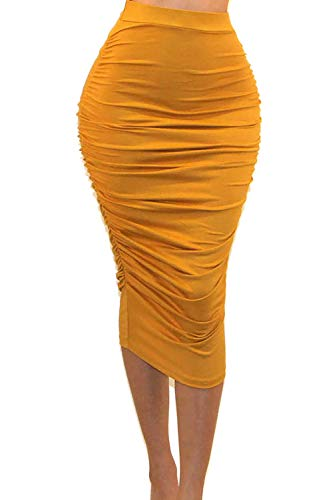 Vivicastle Women's USA Ruched Frill Ruffle High Waist Pencil Mid-Calf Skirt (1 Mustard, Small)