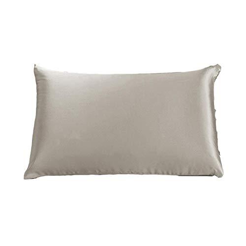 50x70cm 100% Puro de Seda de la Almohada 25 Momme Cremallera casera de Almohada de Textiles (Color : Grey, Size : 40x90cm)