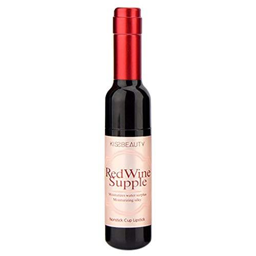 EUCoo - Rossetto a forma di bottiglia di vino, impermeabile, opaco, vellutato, a lunga durata, non sbiadisce