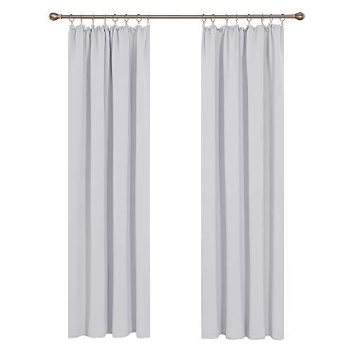 Deconovo Vorhang Blickdicht Gardinen schallschutz mit Kräuselband 260x140 cm Grau Weiß 2er Set