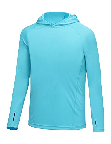 BALEAF Boys UPF 50+ Shirts Sun Protection Quick Dry Youth Long Sleeve Hoodies Shirt for Workout Thumbholes Blue Size S