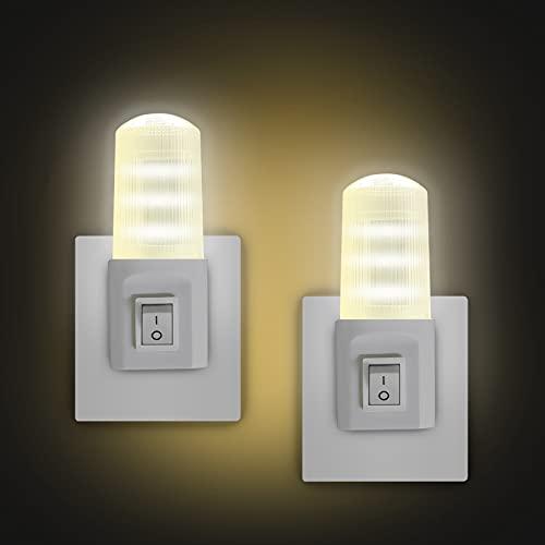 EXTRASTAR Luce Notturna LED, [2 Pezzi] Interruttore retrò Luce Notturna, Luce calda, Plug-And-Play, Luce Notturna da Presa per Camerette, Soggiorno, Corridoio, Bagno, Cucina, Scale