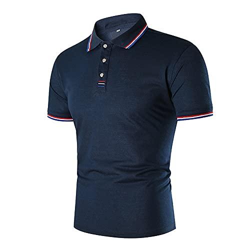 Deportiva Camisa Hombre Verano Moda Rayas Empalme Moderna Hombre Shirt Básica Ajustado Elástica Manga Corta Botón Placket Negocios Casual Golf Polo Shirt B-Blue XL