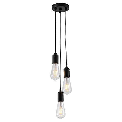 HJXDtechAraña industrial vintage con 3-portalámparas Lámpara de techo colgante de luz Cluster Colocación de la lámpara de la suspensión del zócalo E27 (Negro)