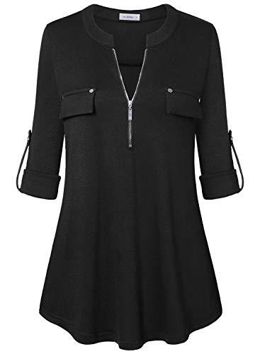 Siddhe Damen Einfarbig V-Ausschnitt Bluse Reißverschluss T-Shirt Oberteile Elegant 3/4 Ärmel Casual Longshirt, Schwarz M