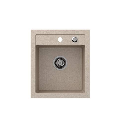 VBChome Spülbecken Beige 43 x 50 cm Granit Einzelbecken Einbauspüle gesprenkelt reversibel Verbundspüle + Siphon Waschbecken