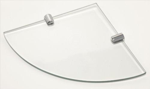 Eckregal aus gehärtetem Glas für Bad, Schlafzimmer, Büro, mit verchromten Regelstützen, Länge: 180 mm, Glasdicke: 6 mm