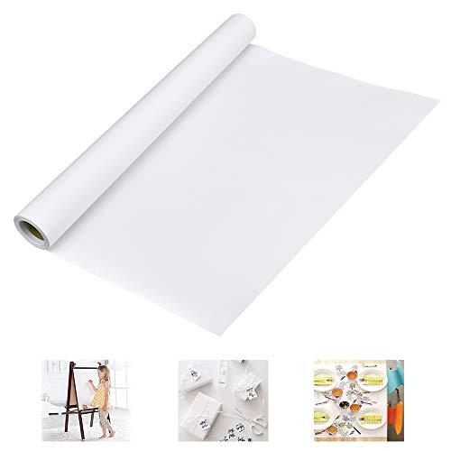 WANTOUTH 1 Rolle Zeichenpapierrolle Weiß Papierrolle Malen Zeichnen 44 cm Breit 10m Lang Zeichenpapier Skizzenpapier Rolle Kinder 70g/qm Skizzenrolle Kunst Handwerk Malpapier für Studenten Malen