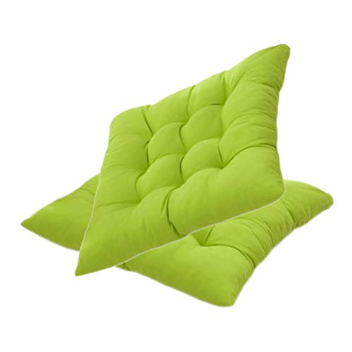 YYRZ Wicker Seat Cushion, Indoor/Outdoor Patio Furniture Cushions Pad, with Ties for Non Slip, Superior Comfort and Softness, Chair Pads for Dining Chairs 40X40cm,Fruit Green,2 Pack