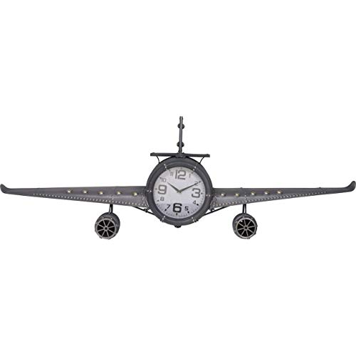 Retro wandklok vliegtuig metaal - grijs - 143x20x46 cm (DSS-DS20959)