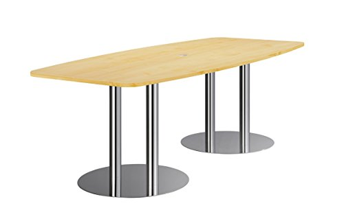 Hammerbacher Konferenztisch KT22S Säulenfüße, Ahorn/chrom