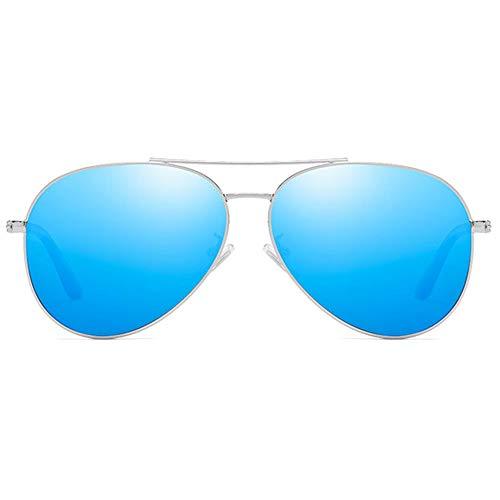 Hancoc Gafas de sol polarizadas con material de metal UV400 Trend azul/marrón/plateado/rosa para hombre (color: azul)