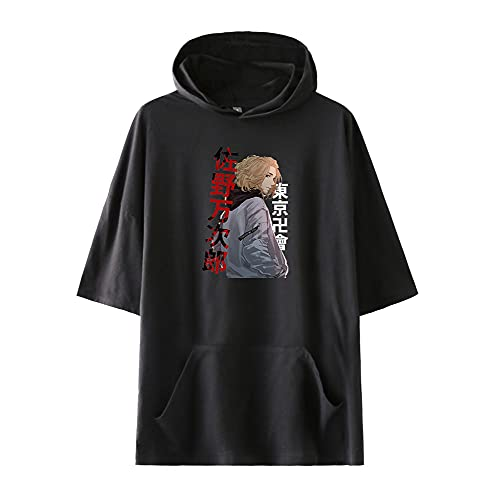 Yuhuaouzhou Unisex Camiseta de Hoodie Tokyo Revengers Casual de Manga Corta para Hombres y Mujeres Camisetas de Verano de Manga Corta con Cuello Redondo para Hombres Mujeres