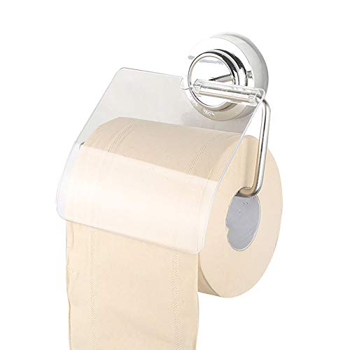 ZTSS Toilet Paper Holder, Stainless Steel Toilet Tissue Paper Holder, Vacuum Suction Cup Toilet Roll Holder, No Drilling Wall Mounted, for Bathroom, Kitchen