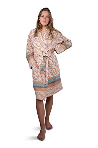 ZusenZomer Hamam Bademantel Damen - Baumwolle - Oeko-TEX® - Fairtrade Saunamantel Kimono Badejacke (Türkis)