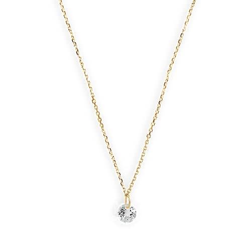 Xenox XG4543G - Collar para mujer de oro amarillo de 9 quilates con colgante de topacio blanco de 42 cm