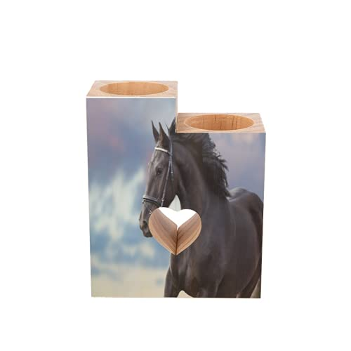 Candle Holders Set of 2 Black Frisian Stallion Horse with Beautiful Mane Tealight Candle Holder Stand Tea Lights Candlestick Wood Pedestal Heart Shaped Tall Decorative for Women Men Table