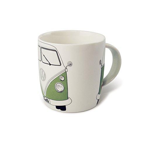 BRISA VW Collection - Volkswagen Bulli Bus T1 Kaffee-Tee-Tasse-Becher für Küche, Werkstatt, Büro - Camping-Zubehör/Geschenk-Idee/Souvenir (Motiv: Front/Grün/Weiß)