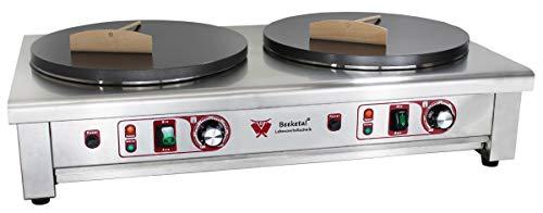 Beeketal 'BC40-2' Gastro Doppel Crepes Maker mit 2x Ø 400 mm antihaft Crepesplatten, 50-300 °C einstellbar, Platten separat regelbar, Profi Crepiere im Edelstahl Gehäuse mit extra Schublade
