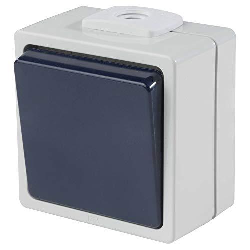 as - Schwabe Aufputz-Schalter – Wechselschaltung (2,5 mm² Querschnitt) – Robuster Wippschalter (230 V / 10 A / 16 A) für Feucht-Raum & Außen-Bereich – IP54 – hellgrau / blau – Made in Germany I 62450