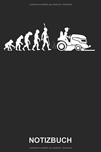 Notizbuch: Gärtner Garten Rasenmäher Rasentraktor Rasenmähen Rasen mähen Evolution Lustig Witzig | Notizbuch, Tagebuch, Notizheft, Schreibheft | ca. A5 mit Linien | 120 Seiten liniert | Softcover