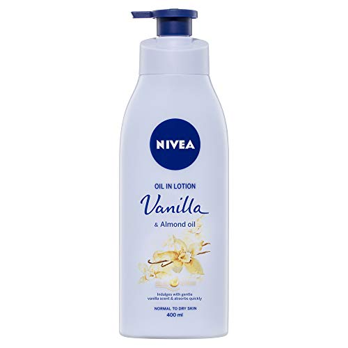 NIVEA Body Oil in Lotion Vanilla & Almond Oil. Fast-Absorbing & Scented Moisturiser for Normal to Dry Skin, 400ml